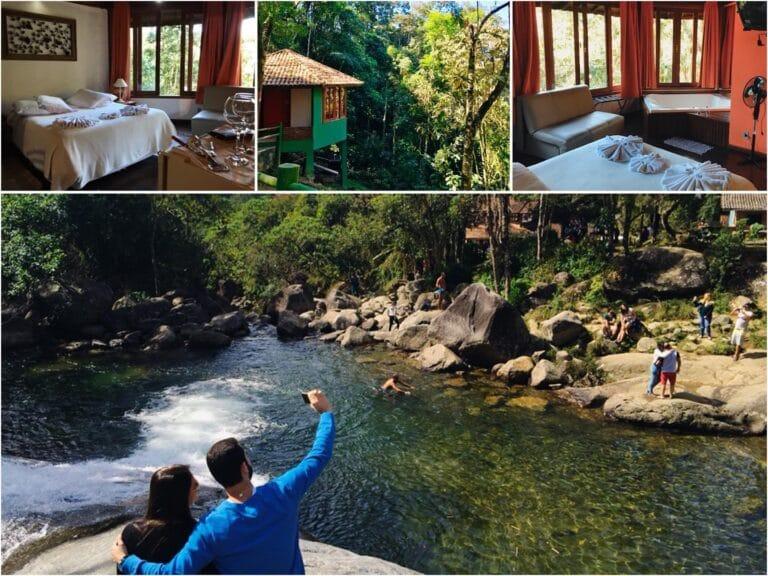 Cachoeira da pousada e Cama de casal e Banheira do chalé em Visconde de Mauá com janelas abertas