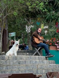 Homen sentado tocando violão e cão ao lado