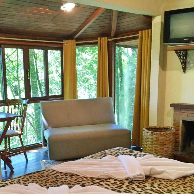 Cama de casal com sofa e janelas com vista da mata