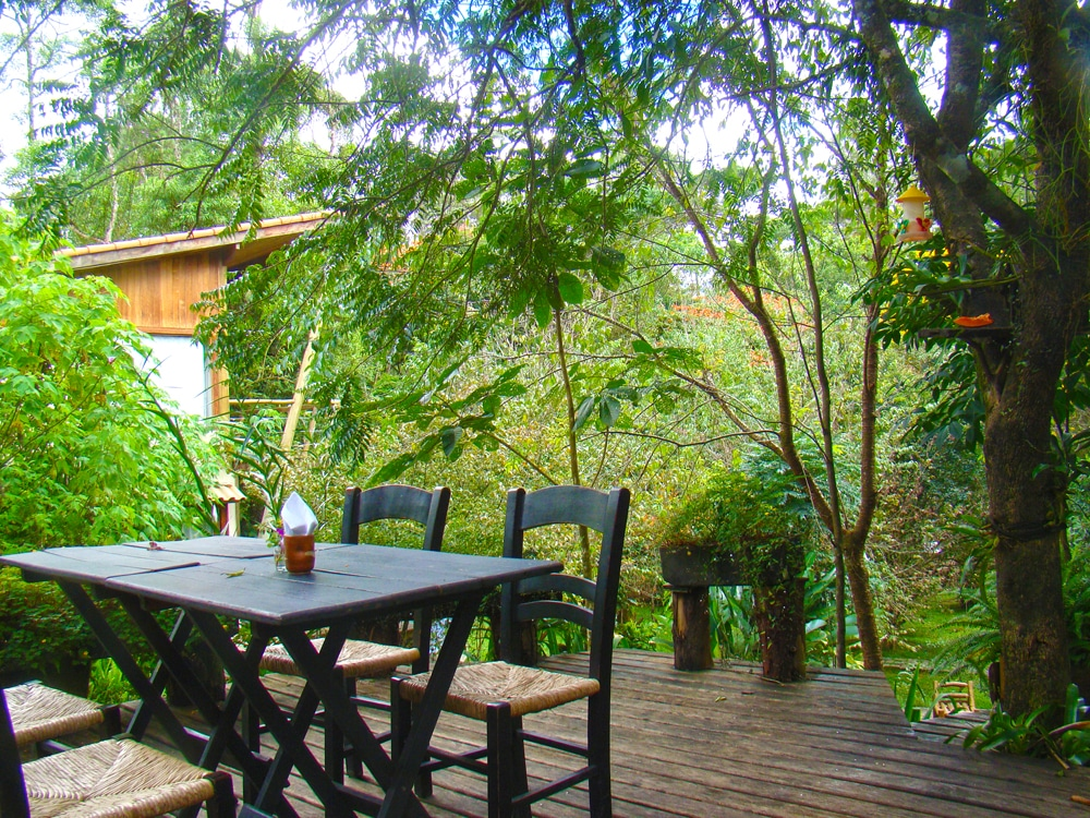 Mesa entre árvores