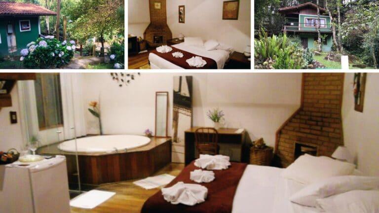 Banheira , Lareira e cama do chalé da Pousada Jardim das Águas em Visconde de Mauá