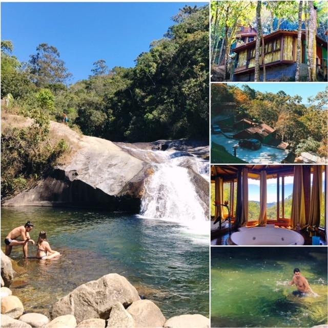 Rio com casal na água em uma Pousada de Visconde de Mauá