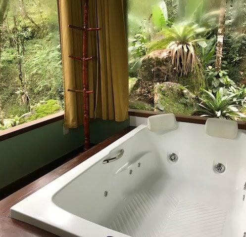 Banheira com vidraças com vista da ma ta da pousada Jardim das Águas