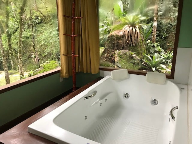 Bañera con acristalamiento con vistas a la ma ta de la posada Jardim das Águas