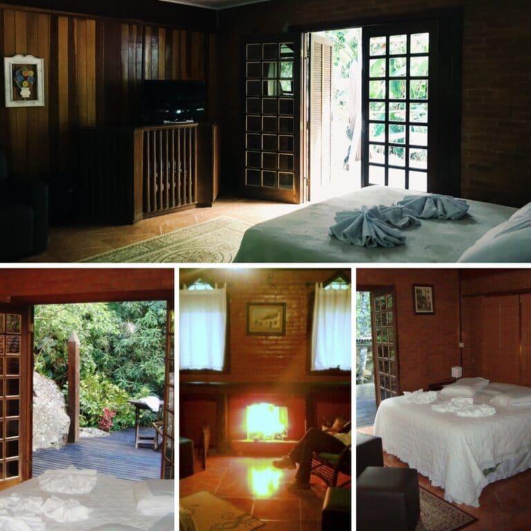 Sala e quarto do chalé