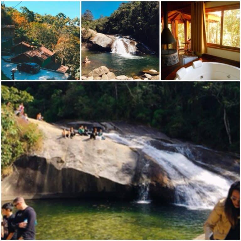 Cachoeira e Banheira do chalé da pousada em Visconde de Mauá.