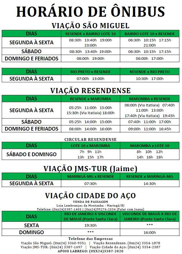 Tabela com horário dos ônibus locais para Visconde de Mauá