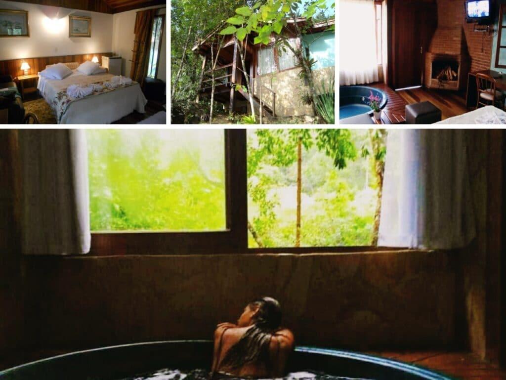 Mulher relaxando na banheira do chalé em Visconde de Mauá