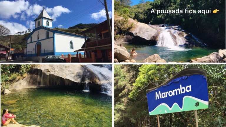 Praça da Maromba e cachoeira da pousada fdi Stefano em Visconde de Mauáchoeiras da região de Visconde de Mauá