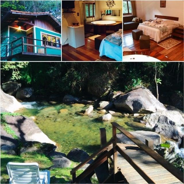 Banheira e tv do Chalé Azalea da Pousada Jardim das Águas em Visconde de Mauá.