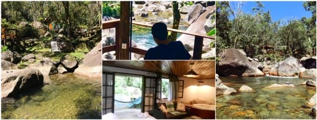 Cachoeiras da pousada e hotel em Visconde de Maua