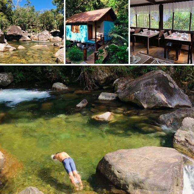 Turista mergulhano no rio cristalino em Maromba