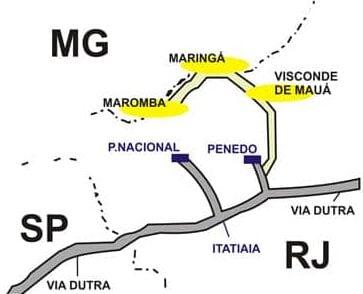 Mapa de Visconde de Mauá entre os estados de Minas Gerais, Rio de Janeiro e São Paulo
