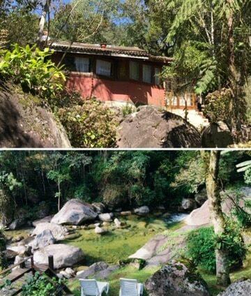 Chalé e rio da Pousada Jardim das Águas e suas cachoeiras em Visconde de Mauá