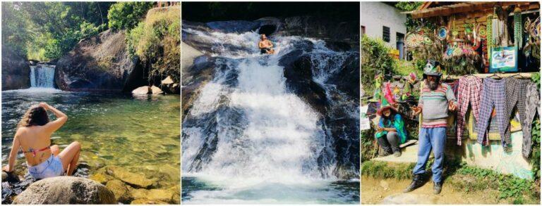 Mulher sentada na pedra com pés na cachoeirade Visconde de Mauá